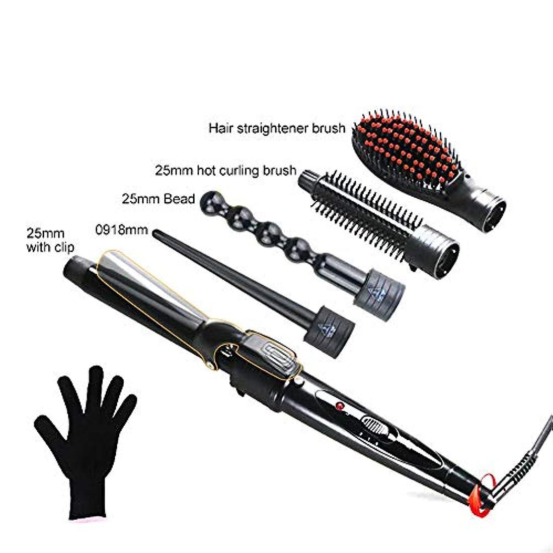ストレートヘアスティック 家庭用5で1カーリングアイロンポータブルセラミックカーリングアイロンセット温度制御ヘアカーラー すべてのタイプの髪に適しています (色 : ブラック, サイズ : Free size)