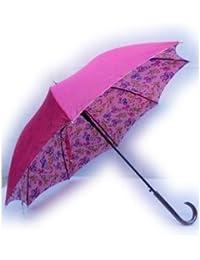 KitagawaSyouten[キタガワショウテン] 雨傘 レディース 長傘 婦人 シャンタン 無地 ピンク裏花プリント