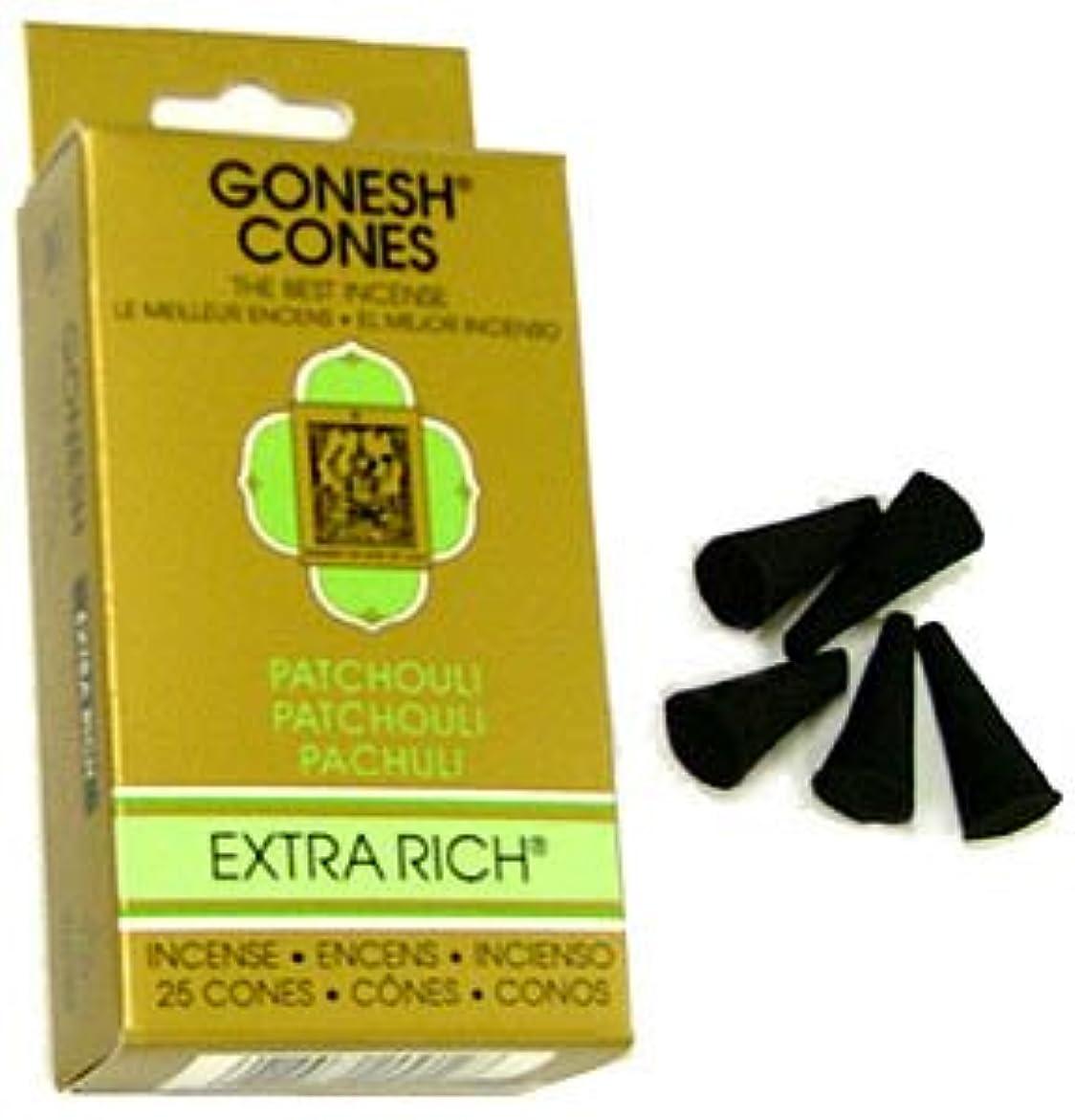 証拠衣類旅行者ガーネッシュ(GONESH) エクストラリッチ インセンス コーン パチュリ 25個入(お香)