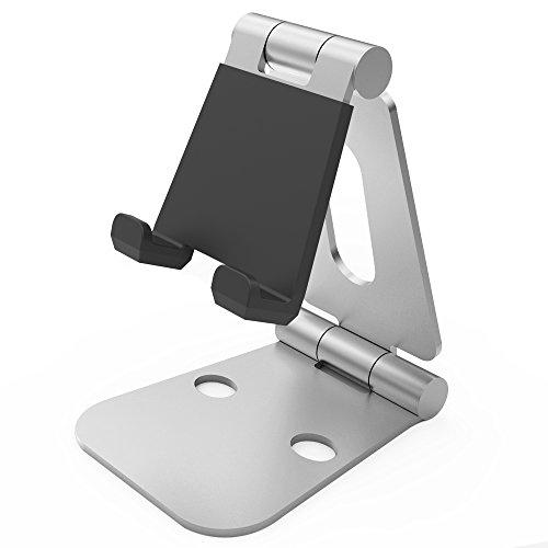 Mofek スマホ タブレット スタンド 折り畳み式 スマホホルダー iPhone対応 角度調節可能 金属製 コンパクト (シルバー)
