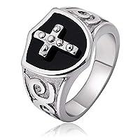 Adisaer 1.8CM メンズ バイカー 指輪 ステレンス クロス 十字架 シルバー 無料ラッピング 父親や彼氏への贈り物ー 24