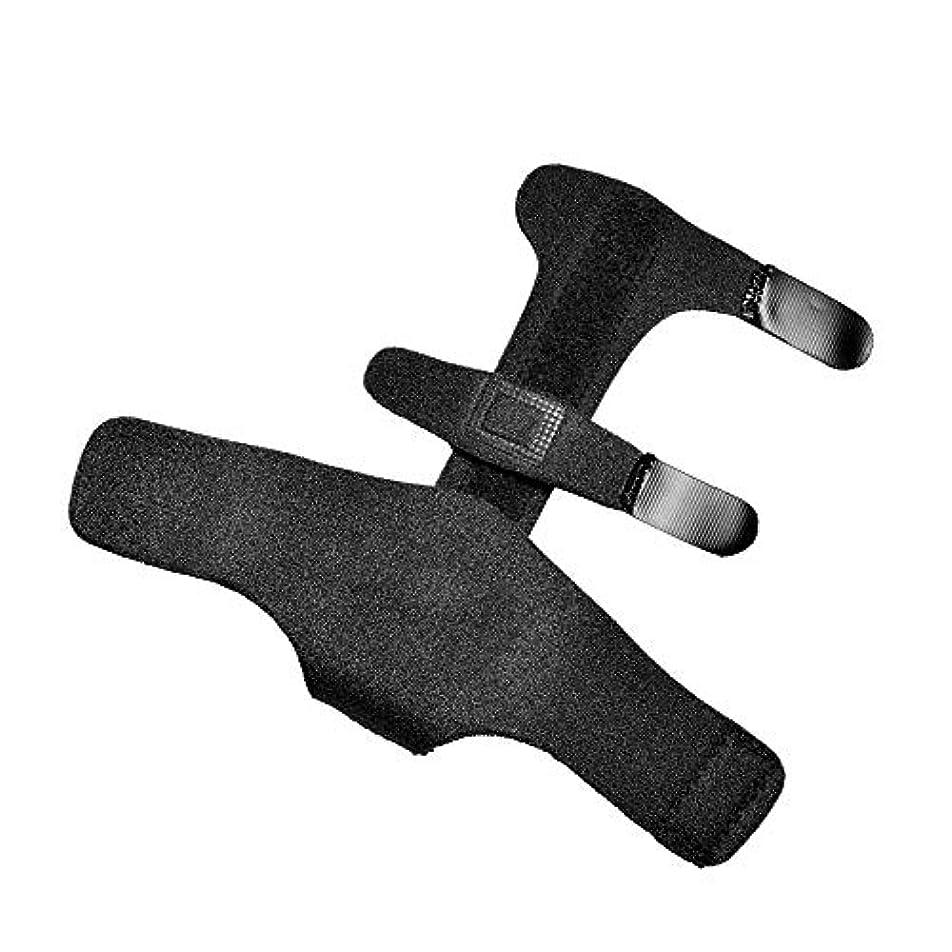 繰り返し繰り返し縞模様のZYL-YL 指固定スリーブ指節クリップアルミニウム板指固定補正ベルト手首の指が固定 (色 : 黒, Edition : Left)