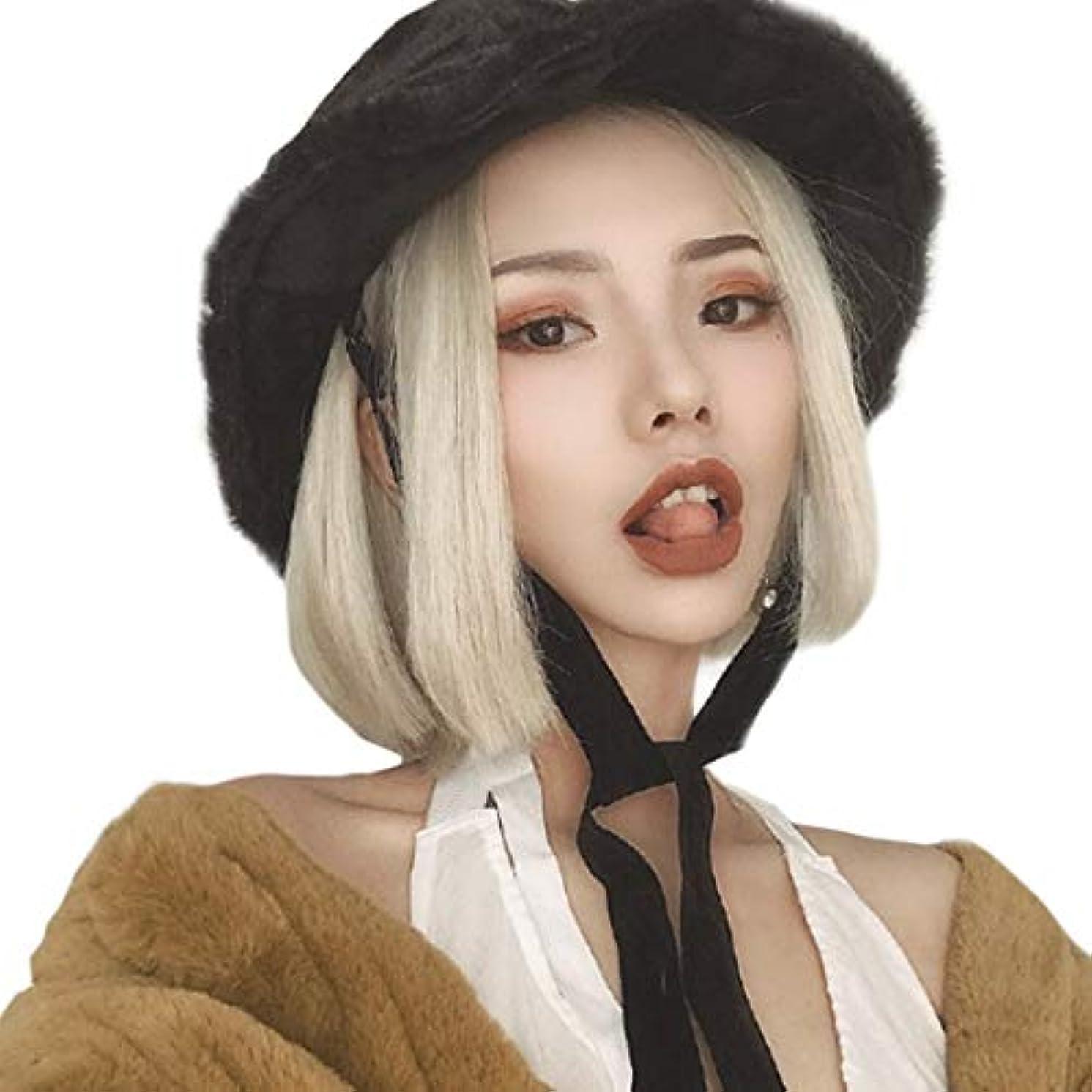 屋内で拡散する退化するKerwinner ボブウィッグベージュショートストレート人工毛フルウィッグナチュラルに見える耐熱性女性用