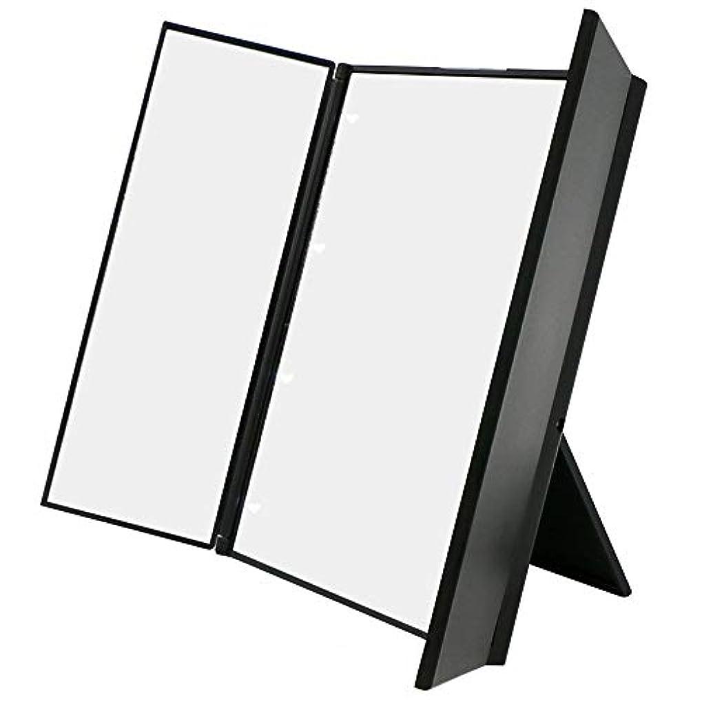 詳細な創造国旗化粧鏡 卓上ミラー三面鏡 スタンドミラー LED付き 折りたたみ式 角度調整可能