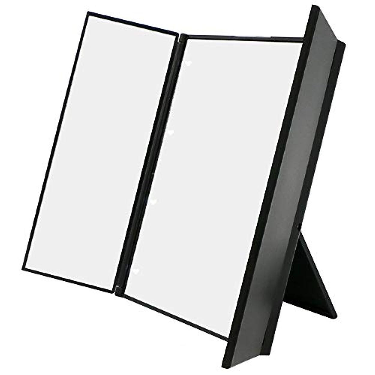 共和党狼司教化粧鏡 卓上ミラー三面鏡 スタンドミラー LED付き 折りたたみ式 角度調整可能