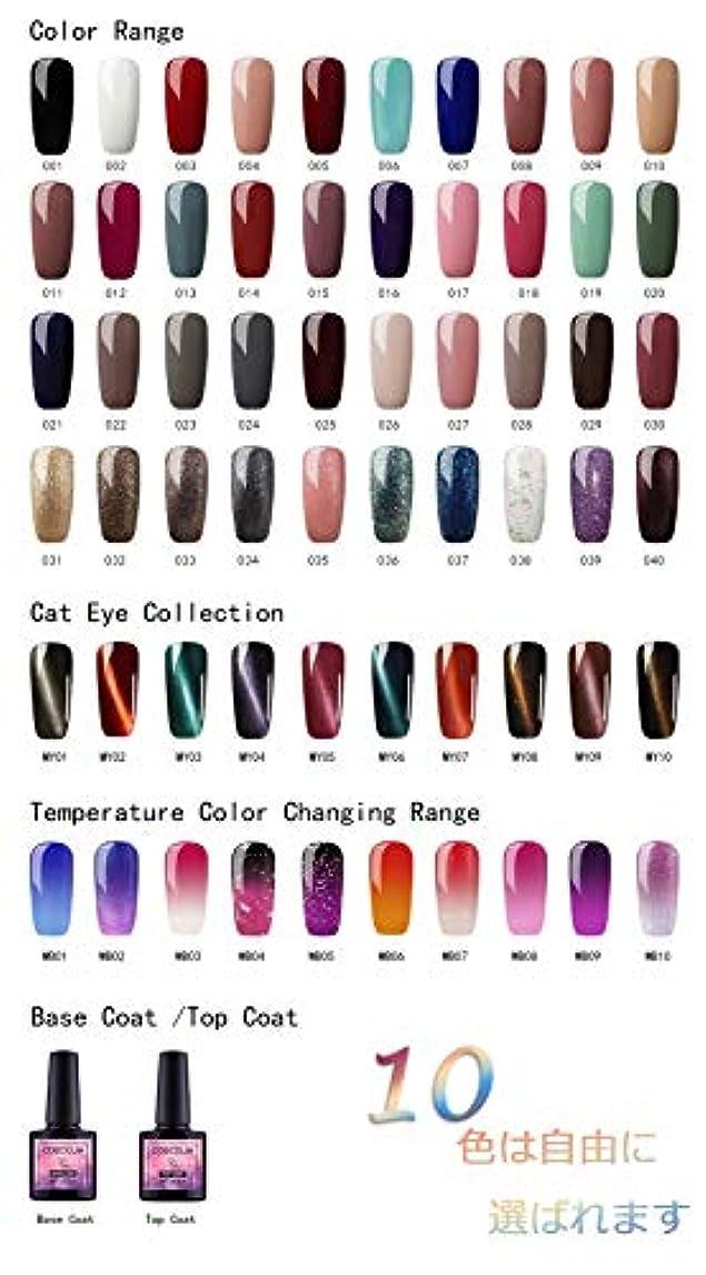 Twinkle Store カラージェル 10色套装 完璧なセット 8ml キャットアイジェルキット カメレオンカラージェルセット  ジェルネイルカラー UV/LED 适用 ネイルアートジェルで簡単に DIY 下の色で10...