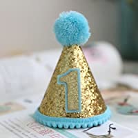 (Blue) - Mini 1st Birthday Hat for First Birthday Baby Girl One Birthday Hat 1st Birthday Girl Decorations Blue