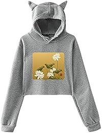 ロータスフラワー中国の旗 Women Cat Ear Hoodie Sweater レディーズ トップス パーカー アクティブウェア