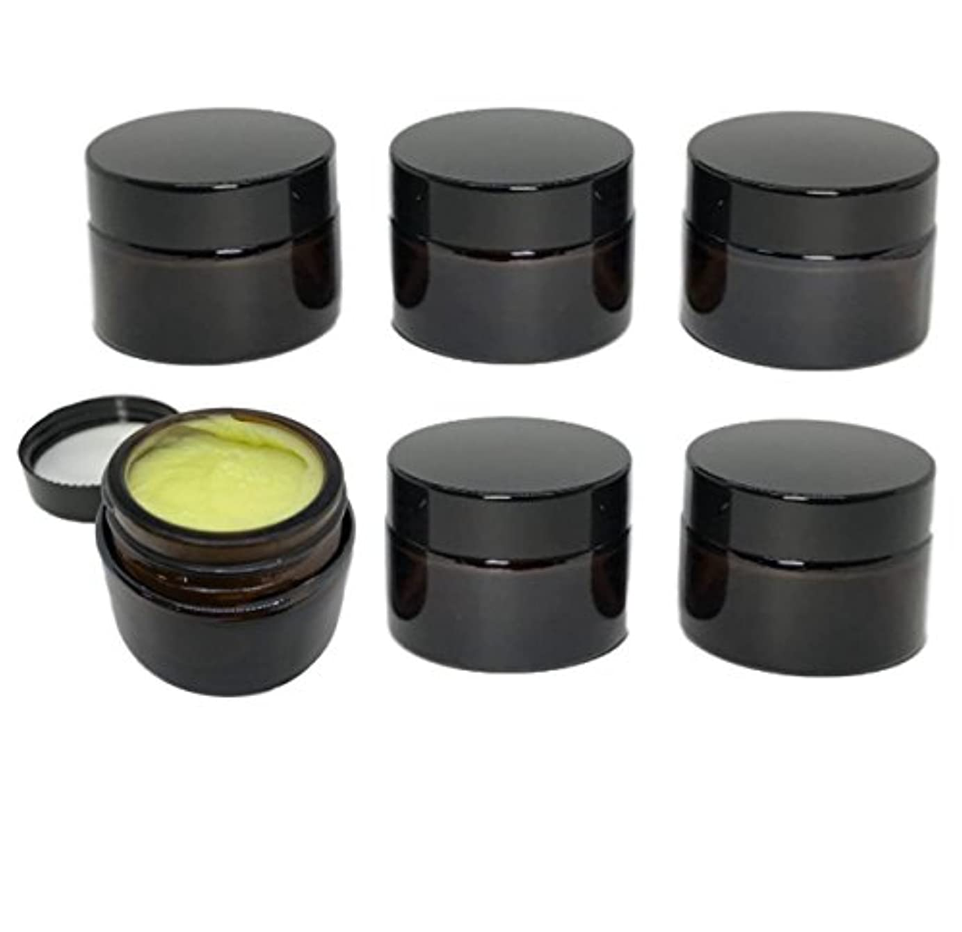 性差別適度にシャンプーrer ハンドクリーム 詰替え 容器 遮光瓶 薬 ワセリン 入れ 6個 セット (アンバー)
