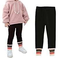 Ehdching Girls Winter Cotton Tight Warm Thick Velvet Leggings Fleece Lined Pants Pantyhose Trousers for Kids Toddler