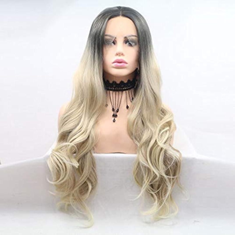 勤勉関係ないパースブラックボロウヘアピース 女性用グラデーションカラー化学繊維フード、フロントレースウィッグ、長いメカニズム、長い巻き毛