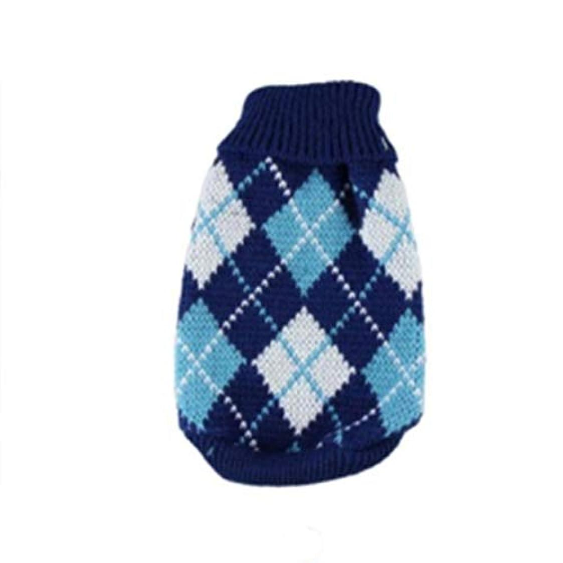 寛容な慈悲深いすり減るSaikogoods 軽量ペットの暖かいセーターユニバーサル犬服ファッションソフト犬服ハイカラー快適なペットのコート 青 XS