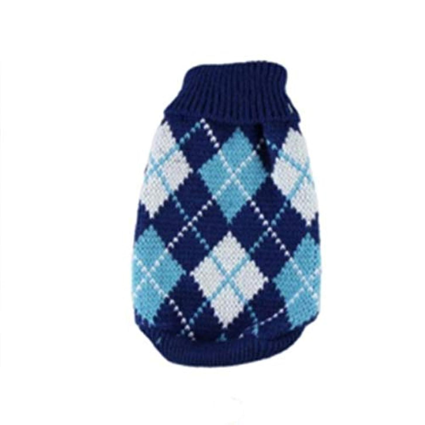 通常布電卓Saikogoods 軽量ペットの暖かいセーターユニバーサル犬服ファッションソフト犬服ハイカラー快適なペットのコート 青 XS