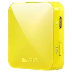 BUFFALO【iphone6 対応】11ac/n/a/b/g 無線LAN親機(Wi-Fiルーター)エアステーション QRsetup 433Mbps イエロー WMR-433-YL (利用推奨環境1人・ホテル用)