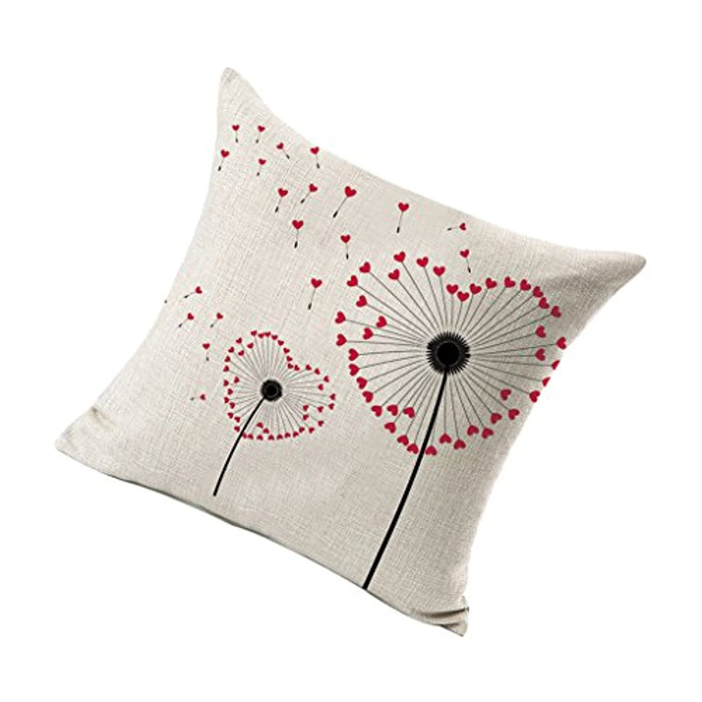 のみ禁じるヘクタールクッションカスタムタンポポモデルカーホームソファオフィス装飾用枕カバーカバーカバーケース - 赤いハート形のタンポポ