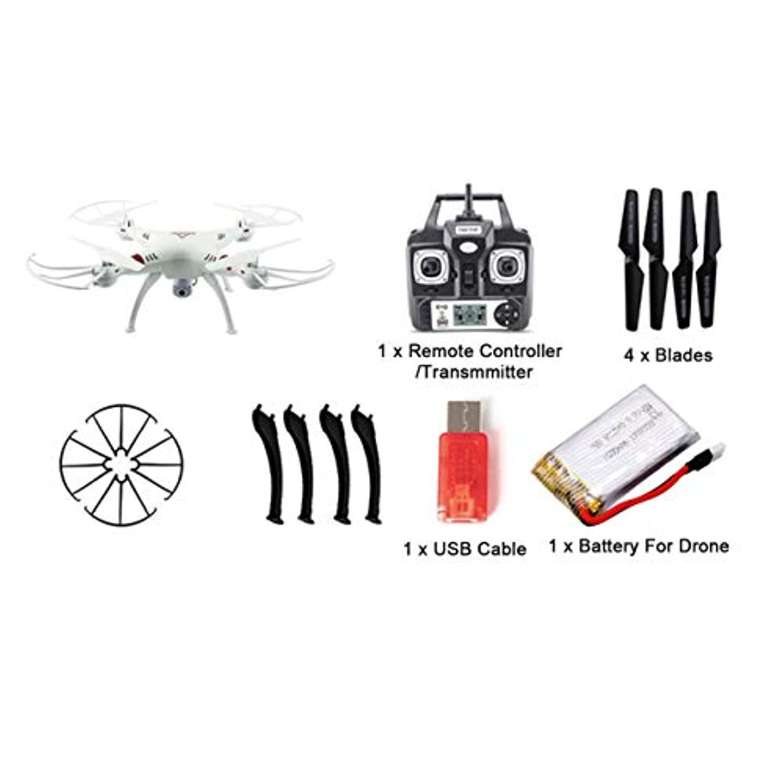 720P(200W)カメラ付きX53ドローンメモリーカードなしリモートコントロール付きオートリターン/ハイト?ホールド監視クアドコプター(カラー:ホワイト)