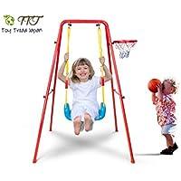 Toy Tread Japan 子ども用 ブランコ バスケット ゴール ボール 付 全米 大人気 室内 室外 遊具 鉄棒 運動 組み立て 簡単 頑丈 安全 ロープ タイプ ※ メーカー 専用 半年保証 付き