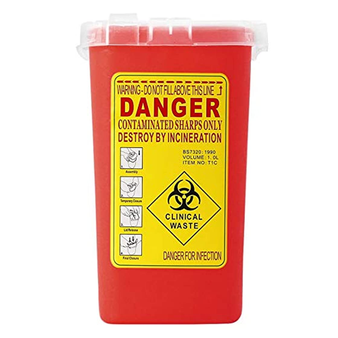 伸ばすバラ色挑むタトゥー医療プラスチックシャープコンテナバイオハザードニードル処分1Lサイズゴミ箱用感染廃棄物ボックス収納 - 赤