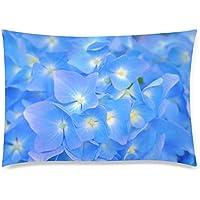 可愛い 子供 青色の紫陽花の花のアップ 座布団 50cm×72cm