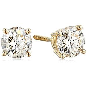 [アマゾンコレクション] Amazon Collection 14金イエローゴールド スクリューバックポスト付 ダイヤモンド スタッドピアス(1.0ct J-Kカラー,I2-I3クラリティ) ERBYG-100-OBS