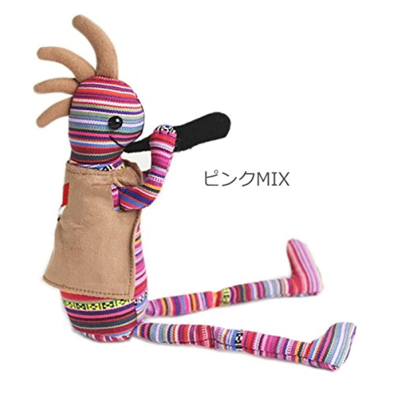 【おすわりココペリ】ココペリ人形 Mサイズ 34cm ココペリ kokopelli (ピンクMIX)