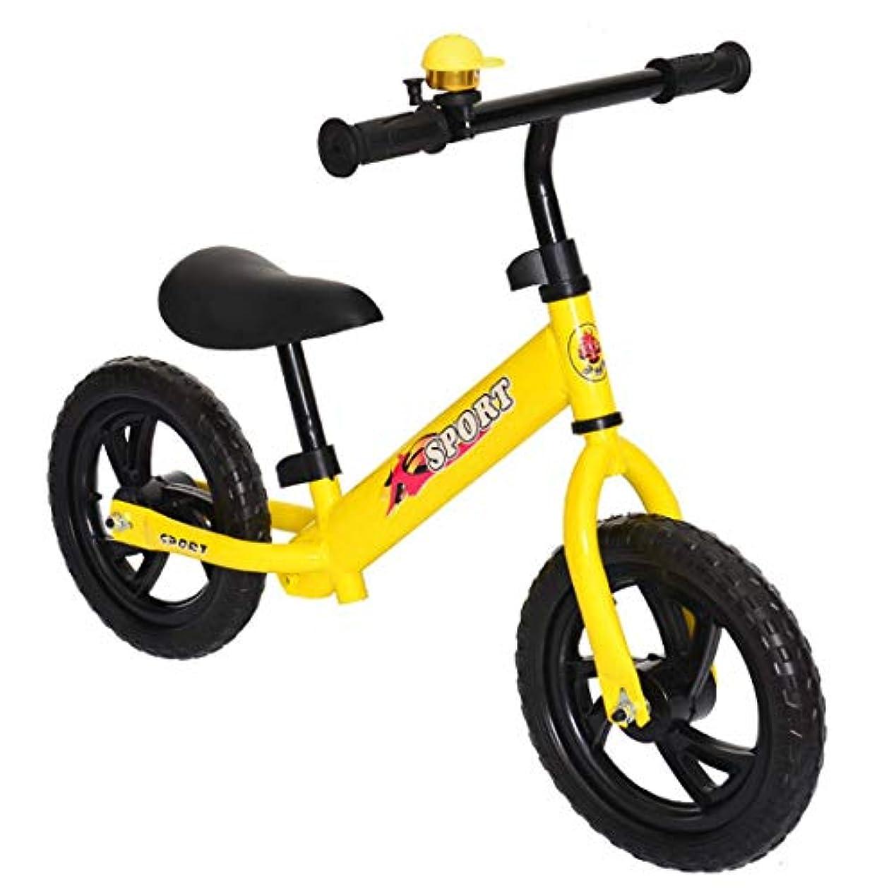 する必要があるインタネットを見るきゅうりキッズバランスバイク、12インチペダルなしキッズウォーキング自転車2?6歳の子供用、炭素鋼フレーム、調節可能なハンドルバーとシート付きのウォーキング自転車イエロー、子供用バランス車