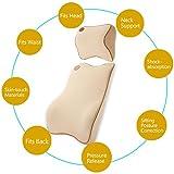 HAOCOOカーシートヘッドレスト枕腰椎サポートクッションキット旅行自動ヘッド首残りクッションの調整Sitting Positionウエストの痛みリリーフ/ Back /脊椎/ Coccyx (ベージュ)