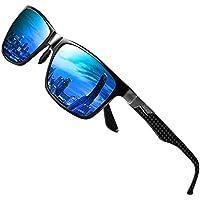DUCO Mens Carbon Fiber Temples with Classic Rectangular Polarized Metal Frame Sunglasses 8206