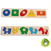 HuaQingPiJu-JP 子供のためのブランドNewWooden幼稚園の幾何学的形状のパズルボード教育パズル