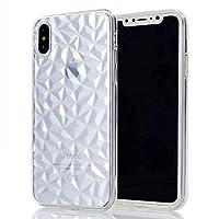 iPhone Xケースの場合、3Dクリスタルテクスチャの半透明ソフトTPUバックカバーダイヤモンドグレイン、耐久性のある滑り止めシェル[5.8インチ] ASDJKL