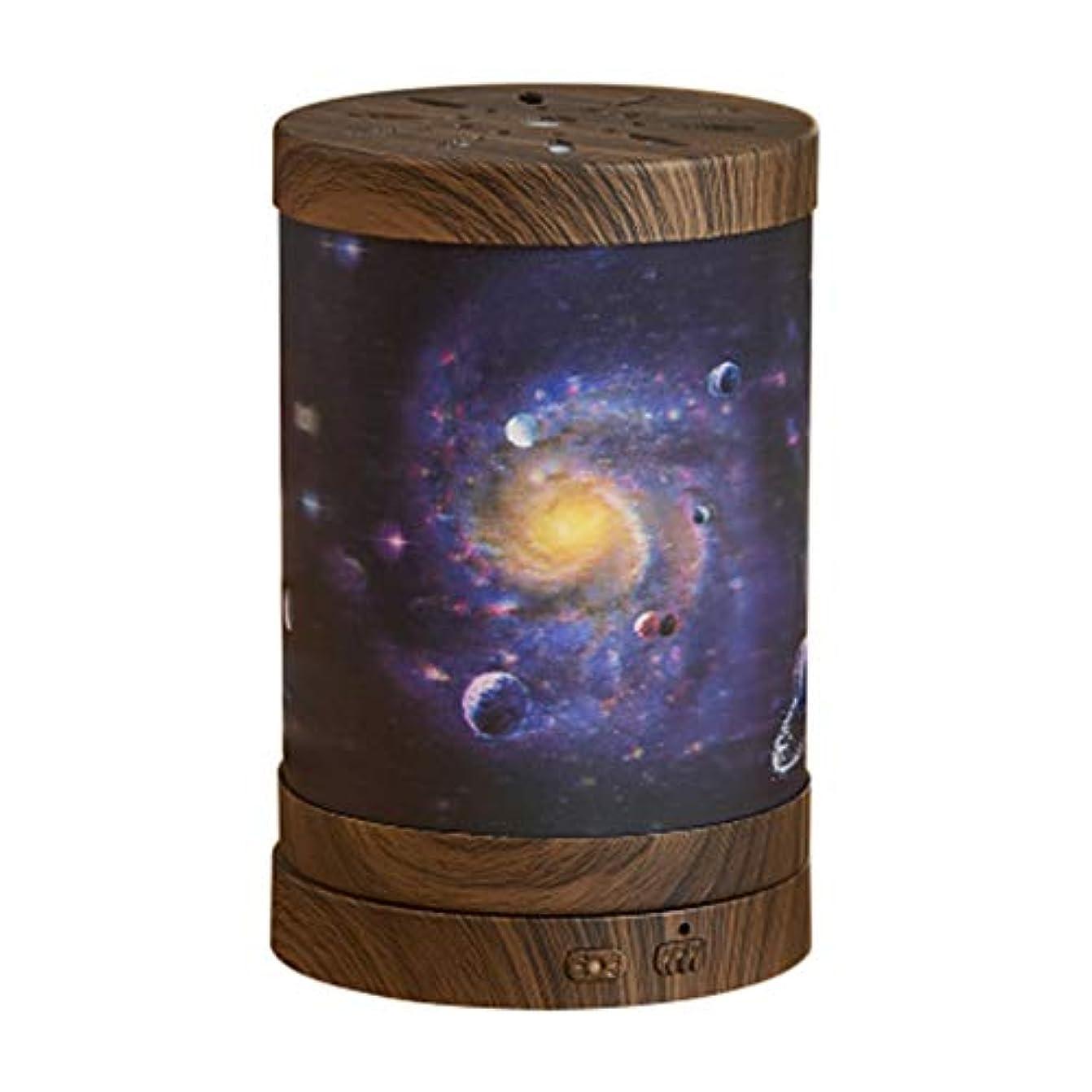 間欠象バルセロナエッセンシャルオイルディフューザー、ギャラクシーのテーマエッセンシャルオイルディフューザー超音波ディフューザークールミスト加湿器、水なしオートクロージング、7色LEDホームライト交換 (Color : Dark wood grain)