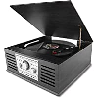 D&L SOUL レコードプレーヤー USB端子 ステレオスピーカー内蔵 FMラジオ CD MP3 プレーヤー 3.5mmヘッドホン Bluetooth対応 AUX入力端子 DL-179D-66