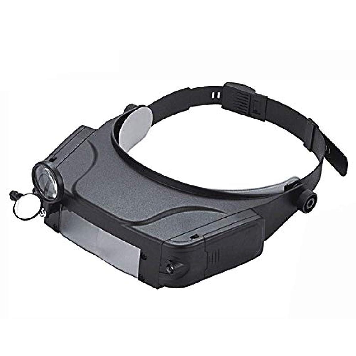 エゴマニア東ティモール教えて照明付きヘッドセット拡大鏡、1.5倍、3倍、6.5倍、8倍、2 Ledライト付きヘッドフリー拡大鏡、電子機器用まつげクラフトジュエリーサーキット時計修理
