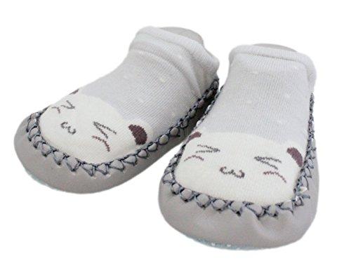 2 Pairs of Baby Boys Girls Indoor Slippers Anti-Slip Shoes Socks Bunny Cat Bear (12-18M, Blue + Grey)