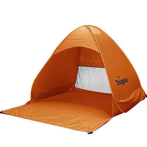 Unigear(ユニジア)ワンタッチテント簡易サンシェードテントUVカットコーティングUPF+50日除け 2人用 簡単キャンプ、登山、砂浜、ビーチ等用(オレンジ)