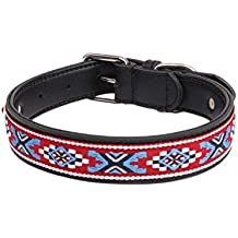 Leather Dog Collar Folk-Custom Pet Dog Puppy Collar for Medium Large Dogs - Handmade with Real Genuine Leather, M