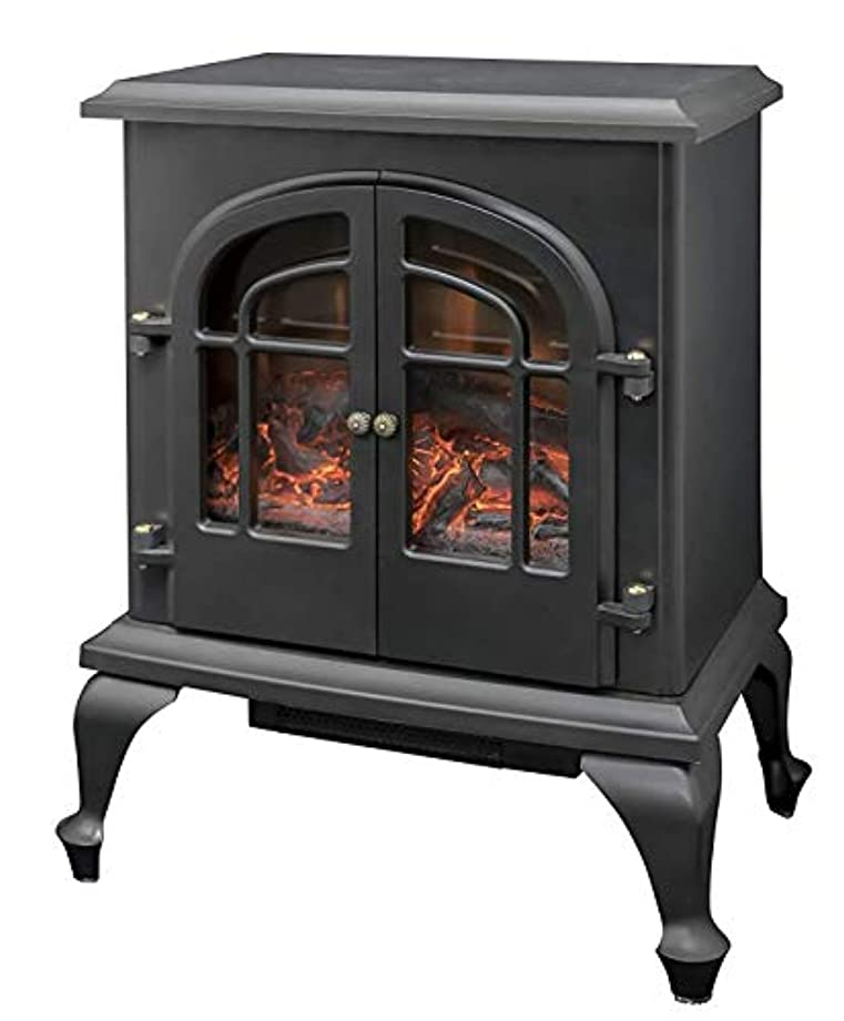 名誉ある分刺繍[山善] 暖炉型ヒーター 疑似炎 照度調整機能付き アンティーク ブラック YDH-SL10P(B) [メーカー保証1年]