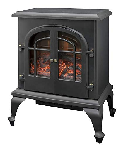 RoomClip商品情報 - 山善 暖炉型ヒーター 疑似炎 照度調整機能付き アンティーク ブラック YDH-SL10P(B)