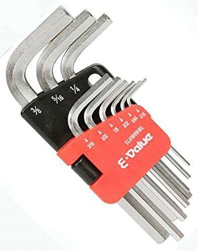 E-Value 六角棒レンチセット インチ 1/16・5/64・3/32・1/8・5/32・3/16・1/4・5/16・3/8インチ 9本組 ELHW09INL