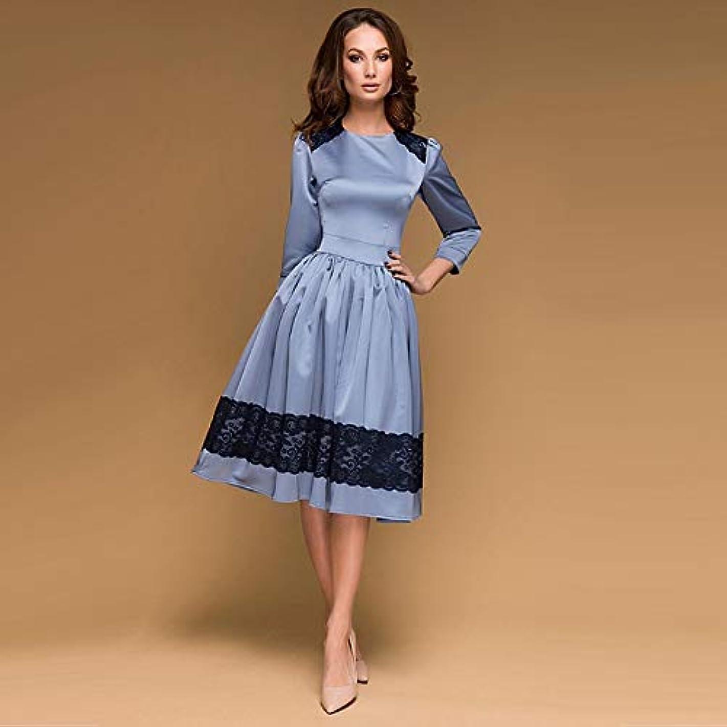 連続的南方のこれまでMaxcrestas - 女性のヴィンテージレースのパッチワークパーティードレス三分袖Oネックソリッドミディシックなドレス2018秋の新しいファッションの女性のドレス