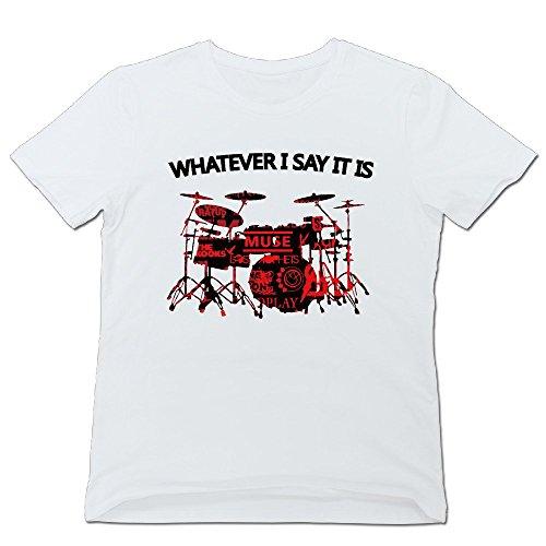 ティナ メンズ Tシャツ ドラム Music Rock シャツ 簡単 White