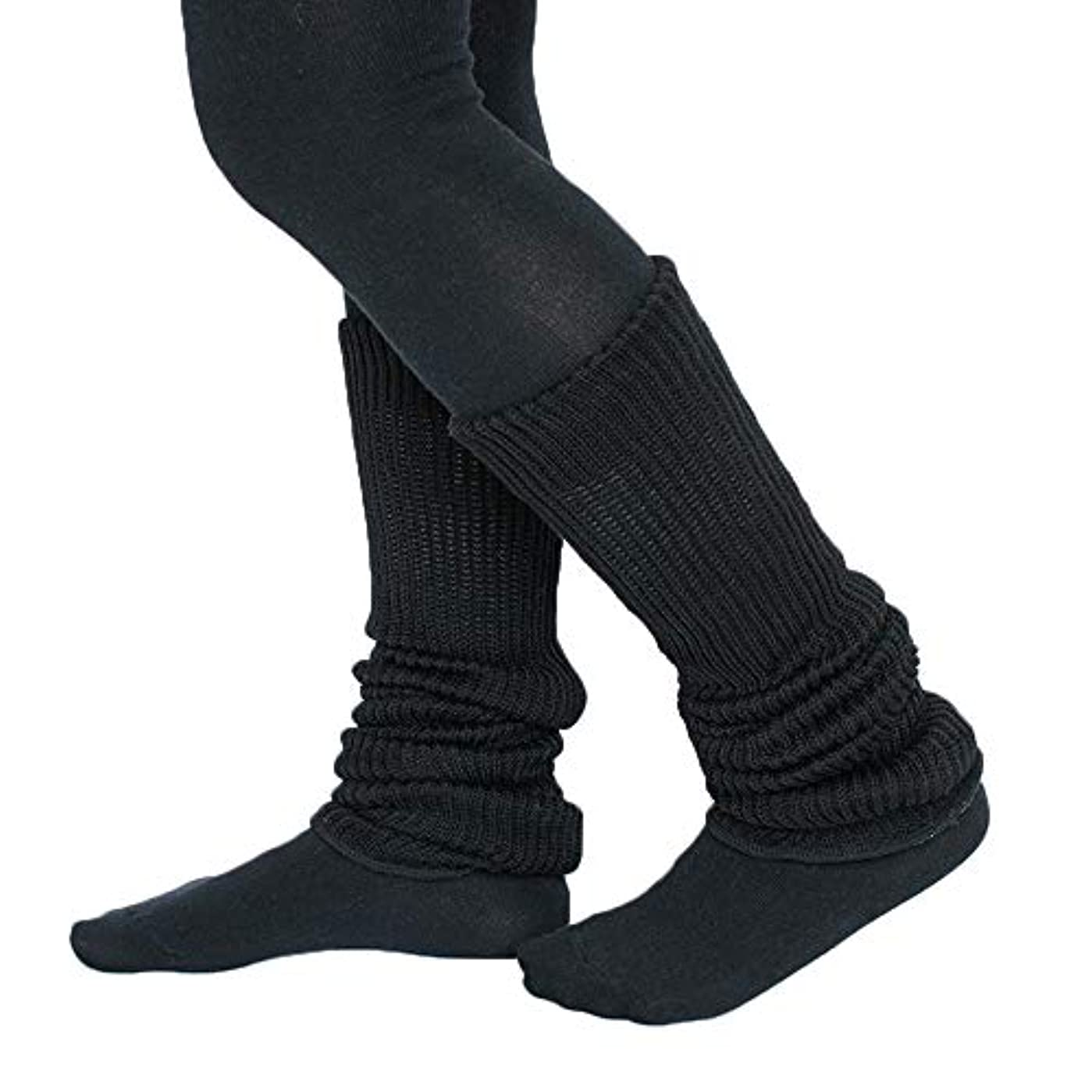 手配する花婿おびえたシルク コットン 二重編み レッグウォーマー 約45cmの内絹外綿の2重織り縫製であったかぬくぬくの 厚手 レッグウォーマー (ブラック)