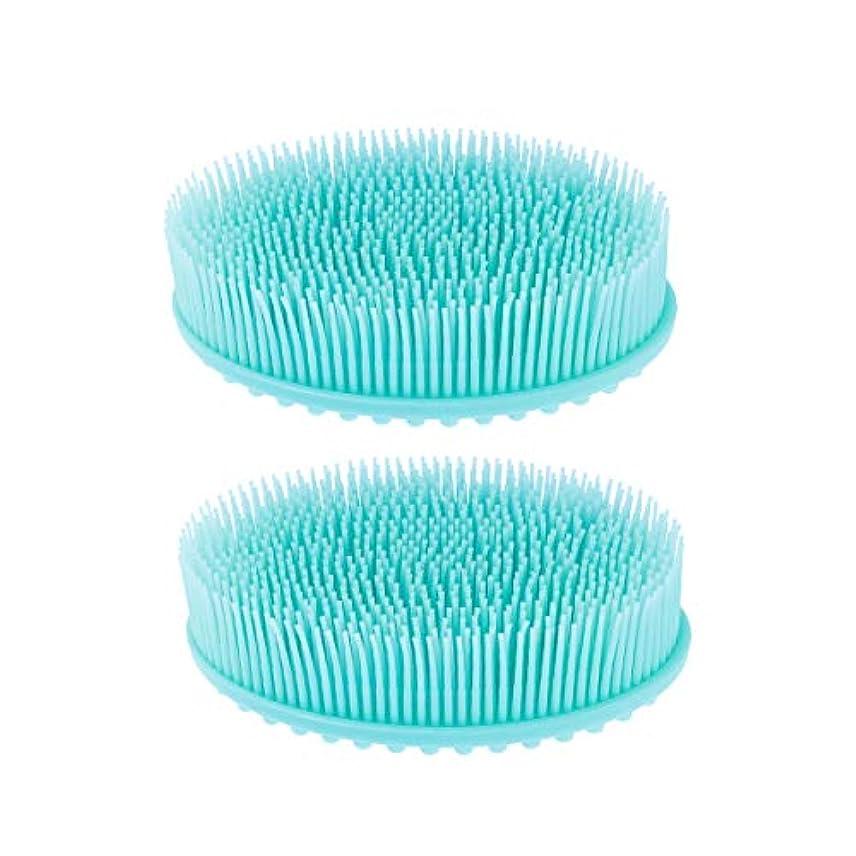 光口メーカーROSENICE シリコーンボディブラシスキンエクスフォリエイティングスキンビューティケアマッサージブラシ2個(ブルー)