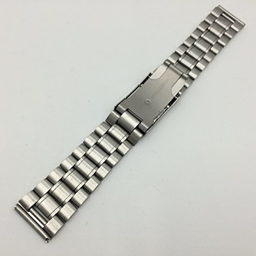 3連 ステンレス 無垢 サイドプッシュ式 腕時計 交換 ベルト 時計バンド バネ棒 付 (1、直カン 22mm)