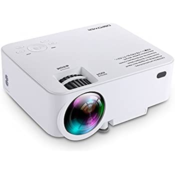 DBPOWER ミニ LED プロジェクター 1500ルーメン 1080P 800*480解像度 HDMIケーブル付属 ホームシアター パソコン/スマホ/タブレット/ゲーム機など接続可能 USB/SDカード/HDMI/AV/VGAサポート(ホワイト)