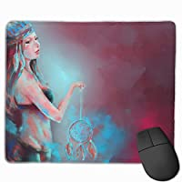 Cheng xiao Mouse Pad Cute Girl Dream Catcher Rectangle Rubber Mousepad Non-toxic Print Gaming Mouse Pad with Black Lock Edge,9.8 * 11.8 in,ベーシック マウスパッド ゲーム用 標準サイズ