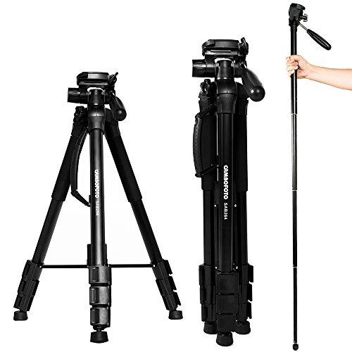 Eienn カメラ三脚 一脚可変式 4段 176cm コンパクト アルミ製 3Way雲台 水準器付き クイックシュー式 一眼レフ ビデオ デジカメ対応 キャリングバッグ 日本語説明書付き
