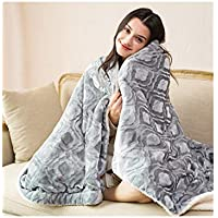 シングルダブル電気毛布、両面使用可能、ショールニーブランケット、コントローラー付き、マルチカラー、マルチサイズ (色 : Gray, サイズ さいず : 165 * 90cm)