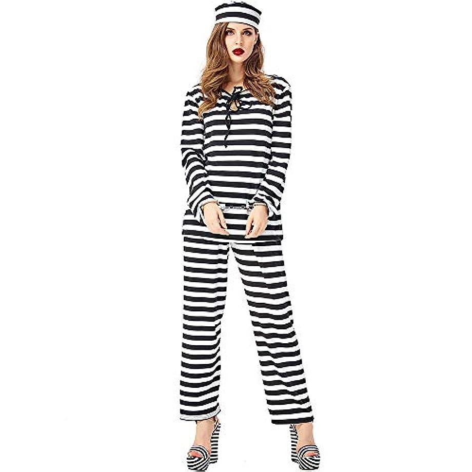 連想地元聞きますレディースハロウィーンドレス、囚人ドレスアップ、黒と白のストライプの制服、コスプレコスプレ衣装、フェスティバルパフォーマンスコスチューム