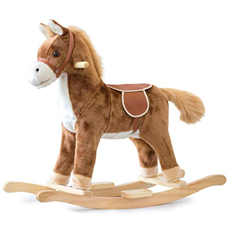 RiZKiZ ロッキングアニマル【おうまさん】 ロッキングホース おもちゃ 木馬 乗用玩具 乗れるぬいぐるみ キッズ用木馬 音楽 チェア 対象年齢3歳